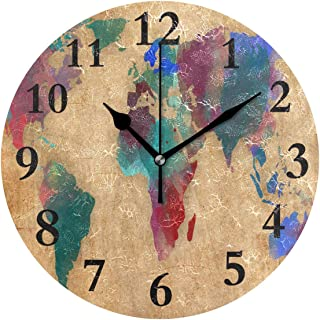 DERTYV Designer Vintage World Map Watercolor Non Ticking Silent Rhombus Wall Clock Decorative,Battery Operated Analog Quiet Round Wall Clock for Living Room, Kitchen, Bedroom