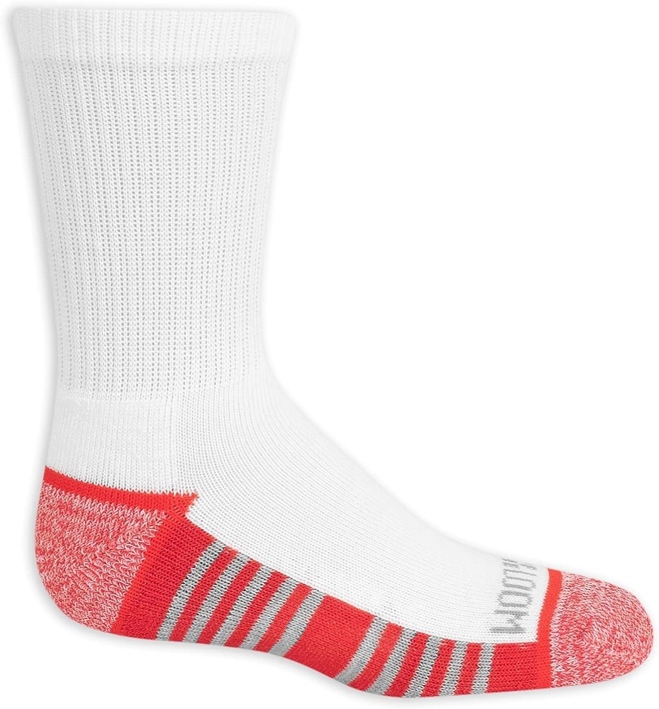 Fruit Of The Loom Boys 12-Pack Crew Socks, White Assorted, 3-9
