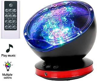Lámpara Proyector,Luz de Noche +Control Remoto+Temporizador,8 Modo Color+6 Sonidos Musical+45 Grado Rotación,Luz de Cabecera Niños O Adulto,Regalos para Halloween Acción Gracias Navidad