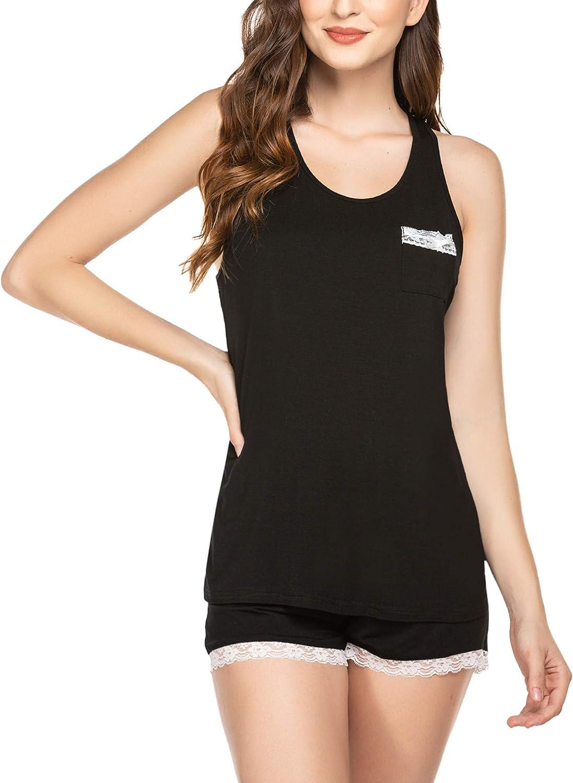 Ekouaer Women's Pajama Set Sweetness Lace Racerback Tank Top Shorts Sleepwear with Pocket