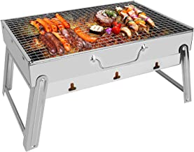 E-More Barbecue Grill, Portable Folding Charcoal BBQ Grill Stainless Steel Desk Tabletop Barbecue Stove BBQ Tool for Outdo...