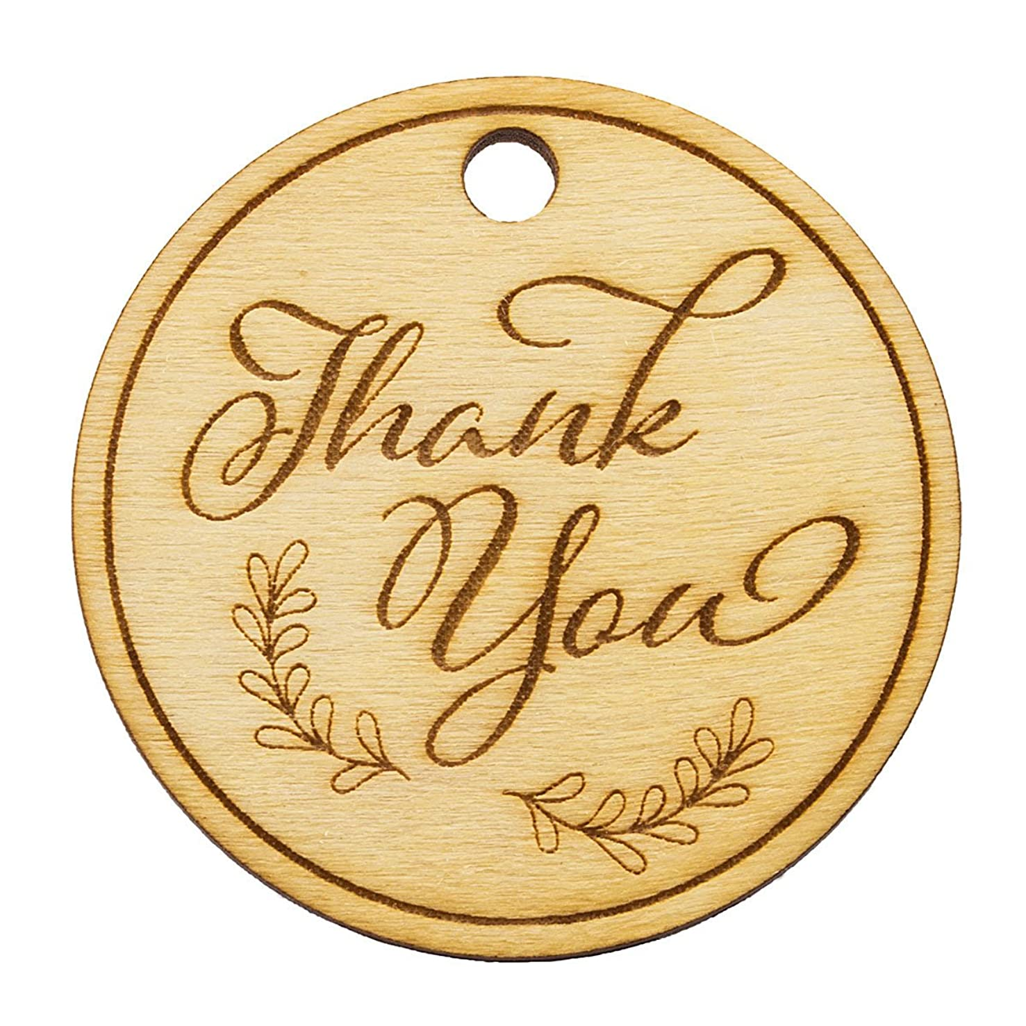 Summer-Ray 50 Wooden Round Thank You Engraved Favor Tags Wedding Baby Shower Bridal Shower Birthday