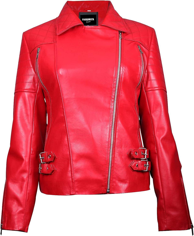 Fashionsta Craze Ardiente Red Womens Faux Leather Blazer Jacket - Red Faux Leather Jacket