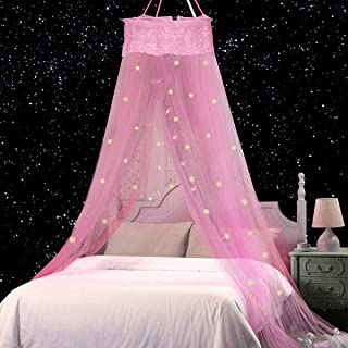 Jeteven Bed Canopy Lace Mosquito Net with Stars Snowflake, Anti Mosquito As Mosquito Net for Baby, Kids, Girls Princess Pl...