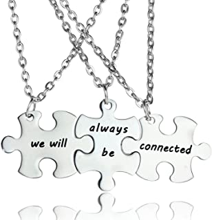 YeeQin 3PCS We Will Always Be Connected Keychain Set, Necklace Set, Best Friends Jewelry, Gift for Sisters