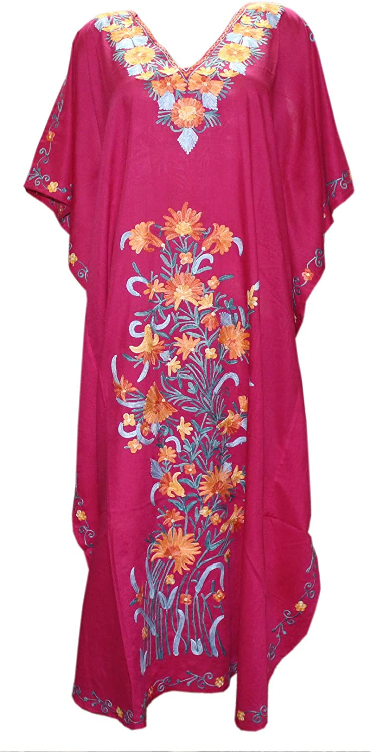 Odishabazaar Cotton Kaftan Kashmiri Embroidered Calf Length Dress for Women