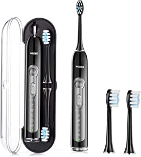 HIEIE Sonic Electric Toothbrush, USB Rechargeable Toothbrush Travel with 2 Replacement Heads, 5 Brushing Modes with 2 Minutes Timer, IPX7 Waterproof (Black)