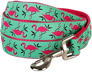"Blueberry Pet Durable Pink Flamingo on Light Emerald Dog Leash 5 ft x 3/8"" for Puppy, X-Small, Basic Nylon Leashes for Dogs"