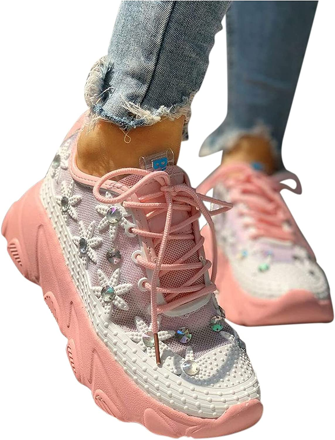 Womens Sneakers Wedge Lace-Up Mesh Hollow Breathable Shoes Fasion Ladies Pink Rhinestone New No-Slip Walking Slides