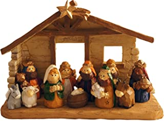 Miniature Kids Christmas Nativity Scene with Creche, Set of 12 Rearrangeable Figures
