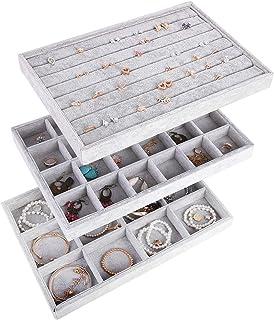 صينية عرض المجوهرات المخملية الثلجية من أوتورك، منظم عرض 7 فتحات + 12 شبكة + 24 شبكة رمادية AJ-076