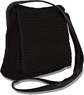 Cute Black Crochet Crossbody Bag with Zipper and Flap Closer, Boho Style Handbag with Faux Leather Strap