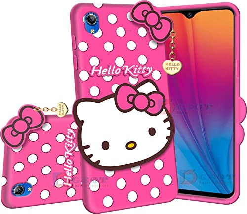 Pidgeot Hello Kitty Back Case Cover Compatible with Vivo Y91I 3D Cute Hello Kitty Soft Silicone Rubber Girls Favourite with Pendant Compatible for Vivo Y91I Pink