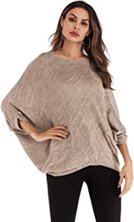 Solid Color Bat Sleeve Casual Loose Round Neck All-match T-shirt High Quality (Color : Apricot, Size : Free Size)