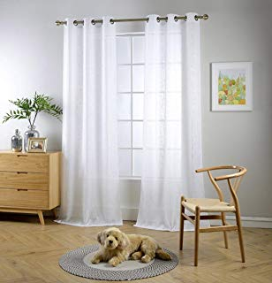 "Miuco White Sheer Curtains Poly Linen Textured Solid Grommet Curtains 84 Inches Long for Living Room 2 Panels (2 x 37 Wide x 84"" Long) White"