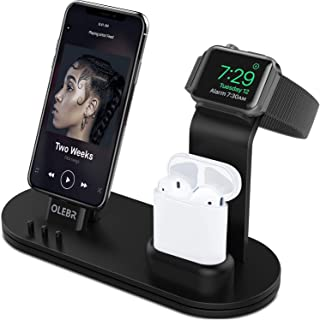 OLEBR Charging Stand Compatible with iWatch 5 and 4 Watch Charging Stand for AirPods, iWatch Series 5/4/3/2/1,iPhone 11/11 Pro/11 Pro Max/Xs/X Max/XR/X/8/8Plus/7/7 Plus /6S /6S Plus/iPad-Black