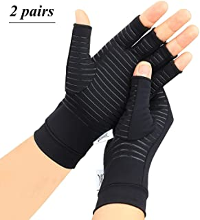 2 Pairs Arthritis Gloves,Copper Compression Arthritis Gloves,Fingerless Hand Gloves for Women and Men,Carpal Tunnel, RSI Osteoarthritis,Computer Typing, and Everyday Support (Black, Large)