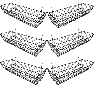 Econoco - Black Multi-fit Double Sloping Wire Basket for Slatwall,  Pegboard or Gridwall (Set of 6) Vinyl Coated Wire Basket, Black