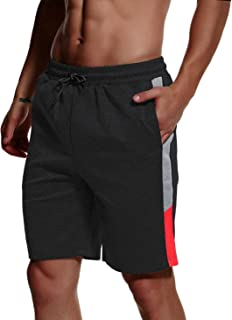 TBMPOY Men's Stripe Running Workout Training Athletic Shorts Drawstring Casual Shorts