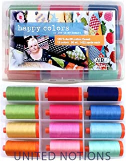 Aurifil Thread Set HAPPY COLORS By Lori Holt 50wt Cotton 12 Large (1422 yard) Spools