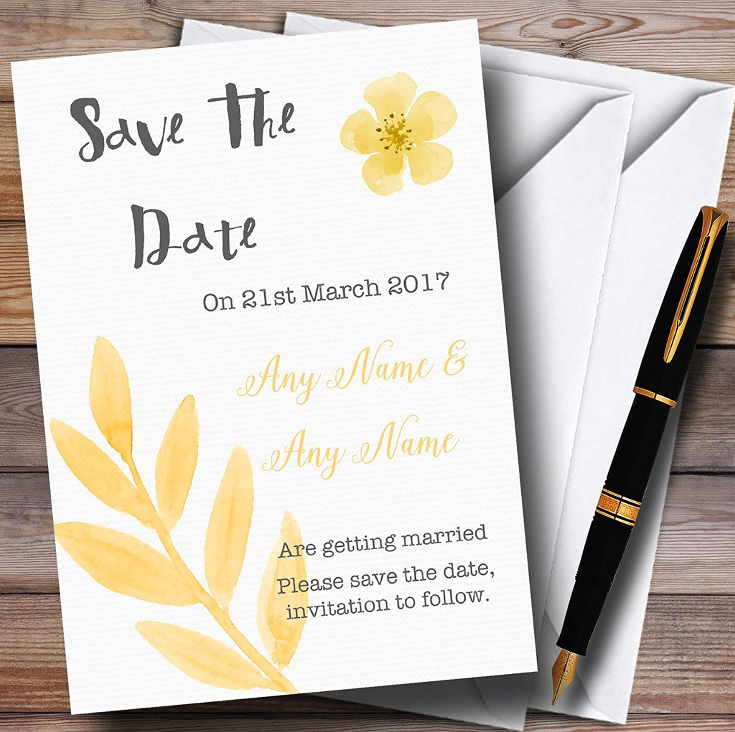 Watercolour Subtle golden Yellow Personalised Wedding Stationery Save The Date Cards