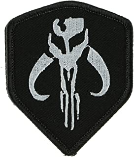 LiZMS Tactical Patch : Star Wars Mandalorian Bounty Hunter Boba Fett Shield Morale Gear (White on Black) - Hook and Loop Fasteners