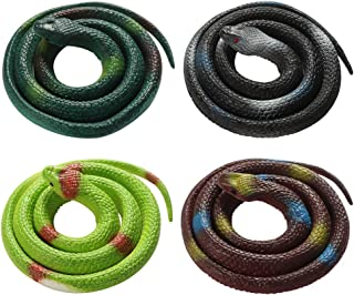 XINRUI BKpearl 4 Pieces Toy Snakes, 30 Inch Rubber Snake Fake Snake Realistic Snake for April Fool's Day, Boys' Favorite, Pool Party, Bathtub Floater