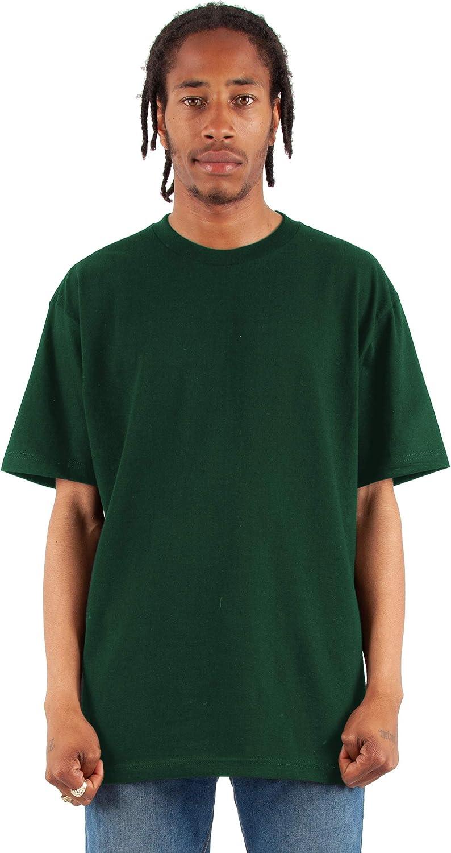 Fitscloth Men's Cotton T Shirt – Heavyweight Soft Retro Short Sleeve Crew Neck Plain Tee Top Tshirts Regular Big Size