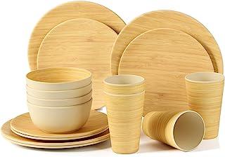 Juego de vajilla de bambú Biodegradable y Respetuoso con el Medio Ambiente