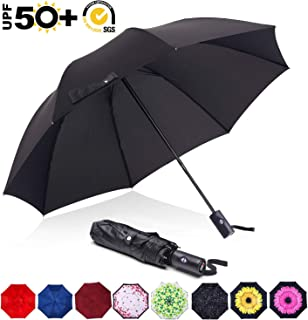 ABCCANOPY Umbrella Compact Rain&Wind Teflon Repellent Umbrellas Sun Protection with Black Glue Anti UV Coating Travel Auto Folding Umbrella, Blocking UV 99.98%,black