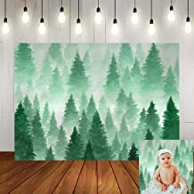 Christmas Pine Tree Landscape Photo Backdrop Winter Watercolor Green Foggy Forest Party Background 7x5ft Xmas Newborn Baby Shower Birthday Party Decorations Banner Photo Studio Props