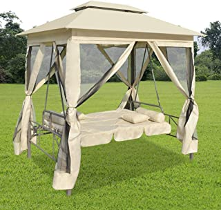 vidaXL 2-Person Gazebo Swing Chair Patio Daybed with Canopy, Mesh Walls with Corrosion-Resistant, Hook & Loop Fasteners (White)