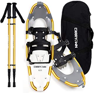 Carryown Xtreme Lightweight Terrain Snowshoes Set for Adults Men Women Youth Kids, Light Weight Aluminum Alloy Terrain Snow Shoes with Trekking Poles and Carrying Tote Bag, 14/21/ 25/30 Inches