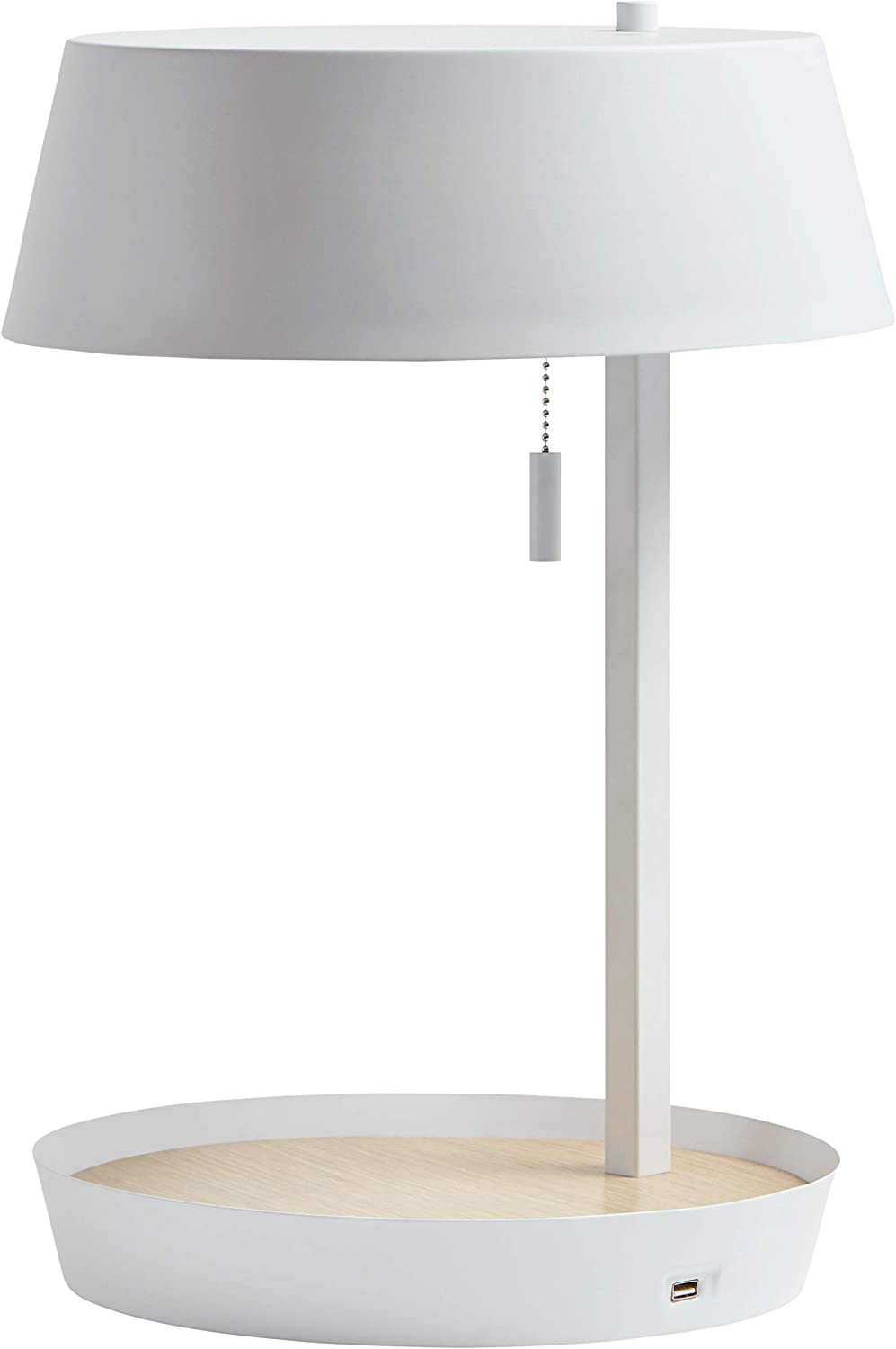 Rivet Modern Table Lamp with USB and Bulb, 18 H, White