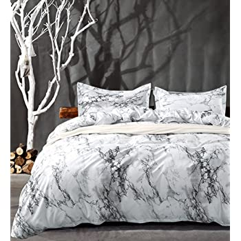 NANKO Queen Bedding Duvet Cover Set White and Black Marble Printed 3 Piece - 1000 - TC Luxury Microfiber Down Comforter Quilt Cover with Zipper Closure, Ties - Best Modern Style for Men and Women