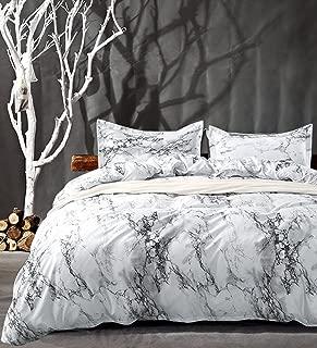 NANKO King Bedding Duvet Cover Set White Black Marble, 3 Piece – 1000 -TC Luxury..