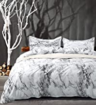 NANKO King Bedding Duvet Cover Set White Black Marble, 3 Piece - 1000 -TC Luxury Microfiber Down Comforter Quilt Covers with Zipper Closure, Ties - Best Organic Modern Style for Men and Women
