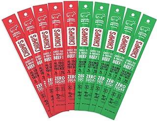 CHOMPS Grass Fed Beef Jerky Sticks, Beef Variety Pack, 10 Sticks: (5) Original Beef, (5) Jalapeno Beef