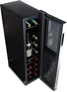 Wine Enthusiast Silent 18 Bottle Wine Refrigerator - Freestanding Slimline Upright Bottle Storage Wine Cooler, Black (Renewed)