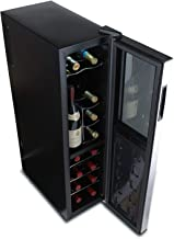 Wine Enthusiast Silent 18 Bottle Wine Refrigerator - Freestanding Slimline Upright Bottle Storage Wine Cooler, Black (Renewed)