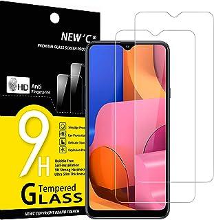 NEW'C 2-pack skärmskydd med Samsung Galaxy A20S – Härdat glas HD klar 9H hårdhet bubbelfritt