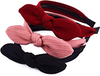 STHUAHE 3PCS Women and Girls Lovely Pure Color Handmade bowknot Hair Hoop Hairband Headband Hair Accessories by Beauty hair (3 Color)