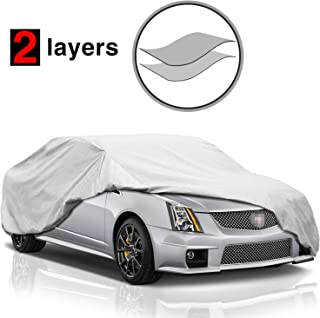 KAKIT Car Cover Waterproof All Weather, 2 Layers UV Protection Universal Sedan Car Covers with Free Windproof Ribbon for Full Size Sedan Cars Automobiles Fits 199