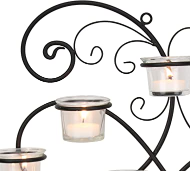 Stonebriar BR-CN-5387A Decorative Black Scrolled Ivy Metal Tea Light Candle Holder Hanging Wall Sconce, 7-tealight