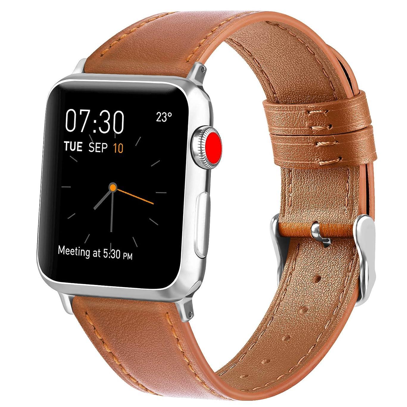 残酷なあいさつログVancle コンパチブル Apple Watch バンド 本革 レザーベルト アップルウォッチバンド 38mm 42mm 40mm 44mm 交換バンド iWatch Series4/3/2/1 レザー製 (42mm/44mm, ブラウン)