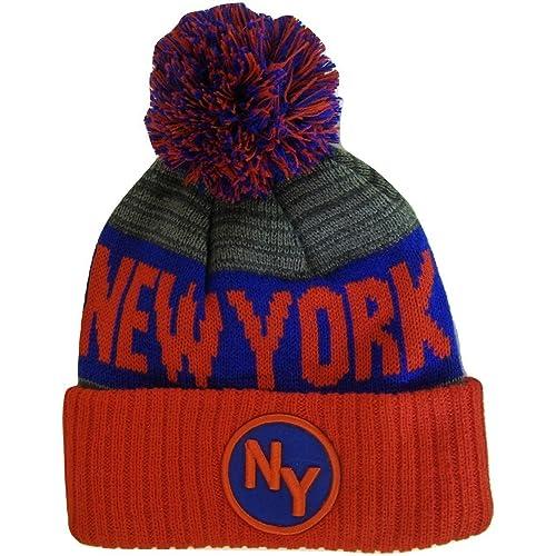 0a34980ec7f BVE Sports Novelties New York NY Patch Ribbed Cuff Knit Winter Hat Pom  Beanie