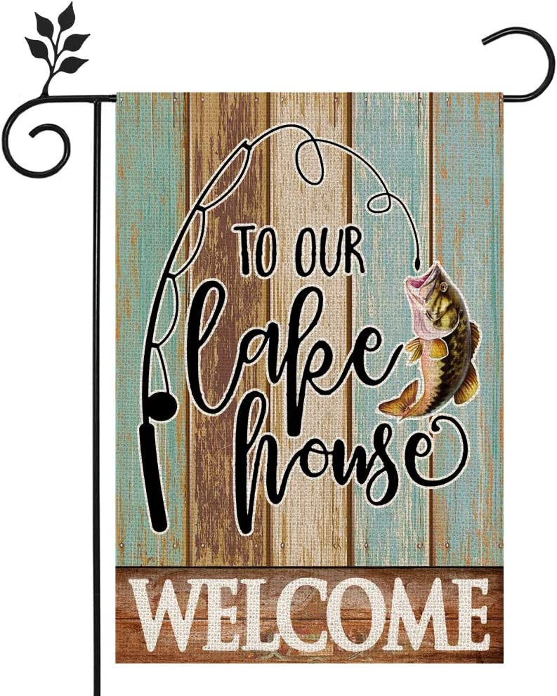 CROWNED BEAUTY Welcome to Our Lake House Garden Flag Fish 12×18 Inch Double Sided Vertical Yard Outdoor Decoration CF203-12