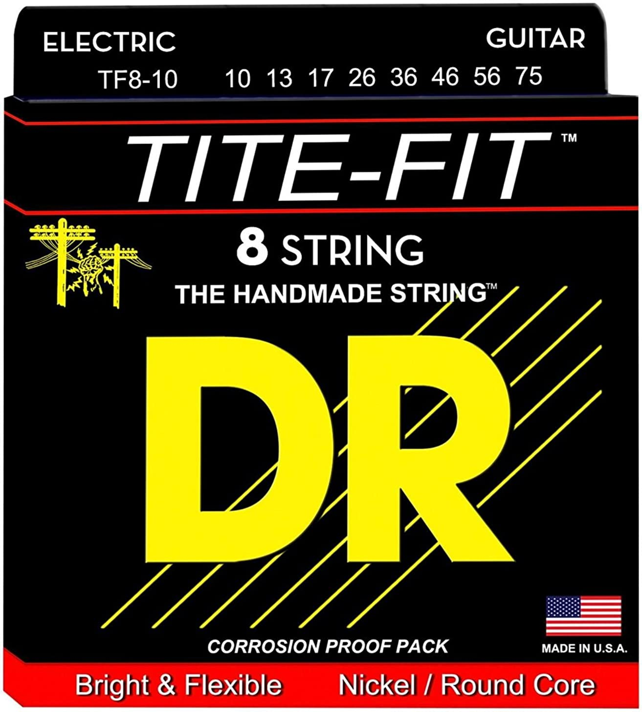 DR Strings TF8-10 8 String Tite-Fit Nickel Plated Medium Electric Guitar Set