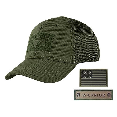 1a22f2c63 Active Duty Gear Condor Flex Mesh Cap (OD Green) + PVC Flag & Warrior