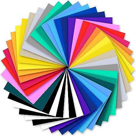 Vinyle de transfert de chaleur, Ohuhu 42 Pack 20 couleurs Feuille de meubles auto-adhésive Feuilles de vinyle de transfert HTV pour tissus T-Shirts Chapeaux Cuirs, Cadeau de la Saint-Valentin